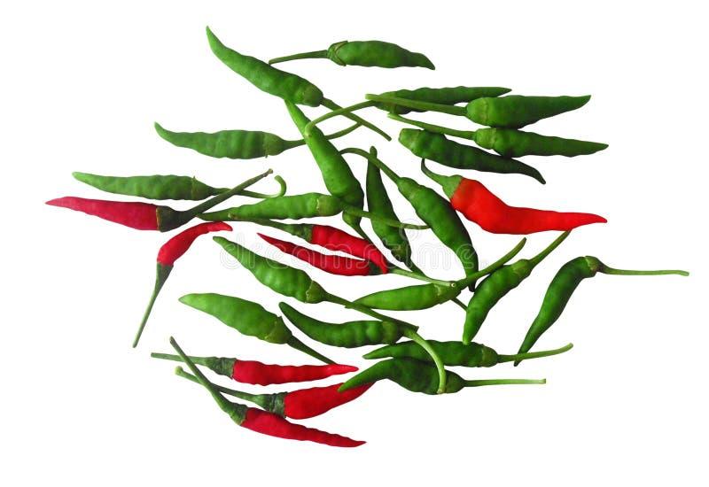 czerwoni chili pieprze zieleni gorący ilustracja wektor