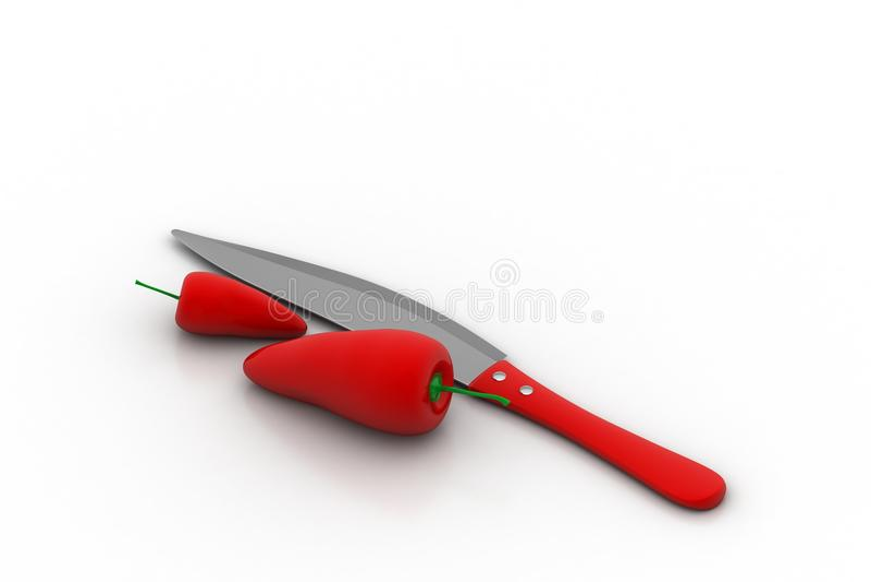 Czerwoni chillies z nożem ilustracja wektor