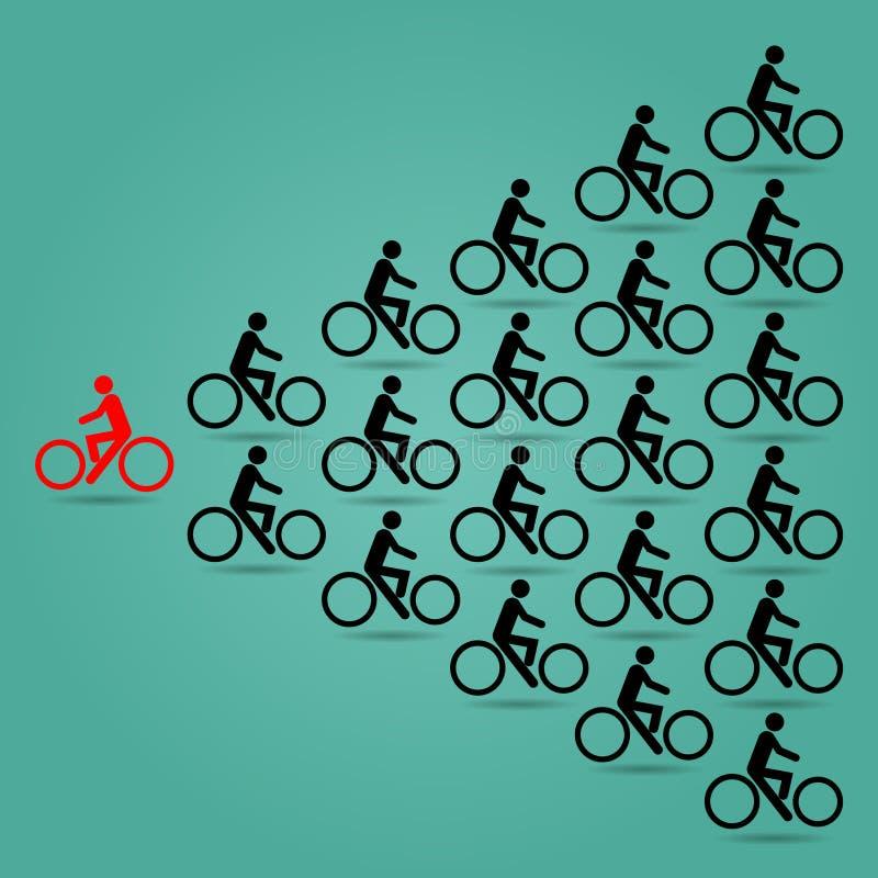 Czerwoni cykliści w opposite kierunku rower są czarni ilustracji