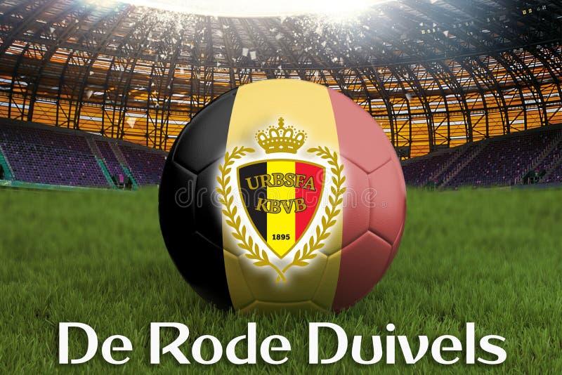 Czerwoni diabły na Belgia języku na drużyny futbolowej piłce na dużym stadium tle Belgia drużyny rywalizaci pojęcie Które dostępn ilustracja wektor