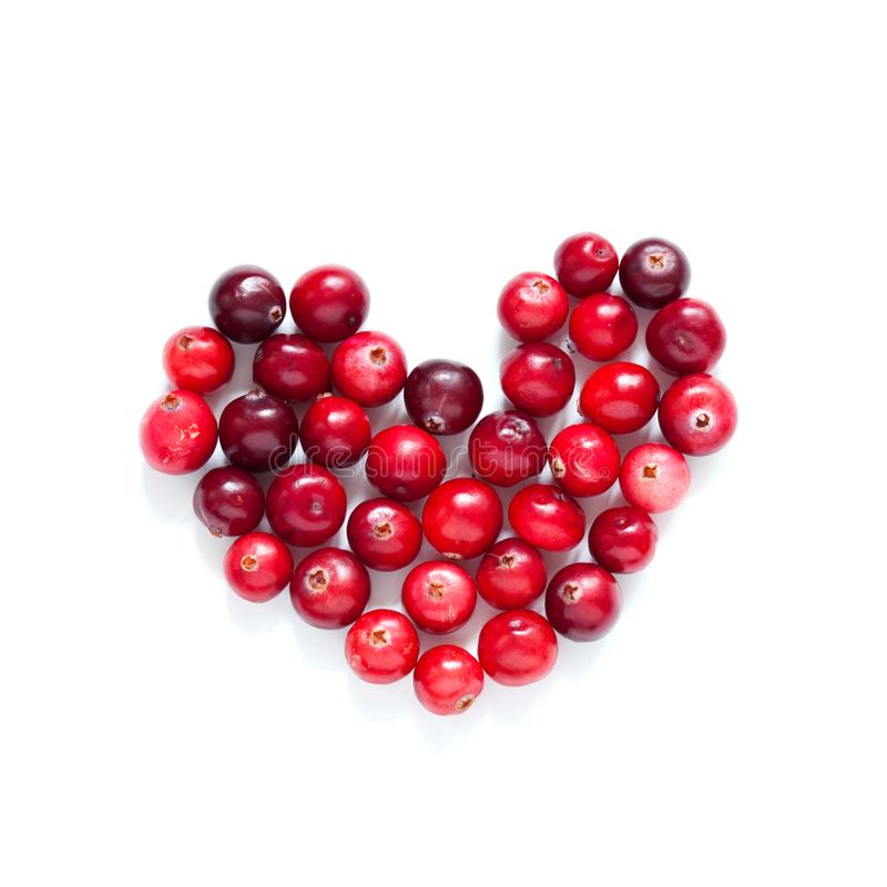 Czerwoni dojrzali organicznie cranberries tworzący kierowy kształt Dzikiego cranberry koloru różnica zakończenie fotografia na bi zdjęcia royalty free