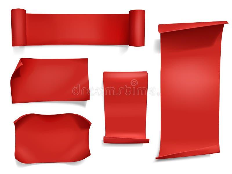Czerwoni faborki i sztandaru wektoru ilustracja ilustracji