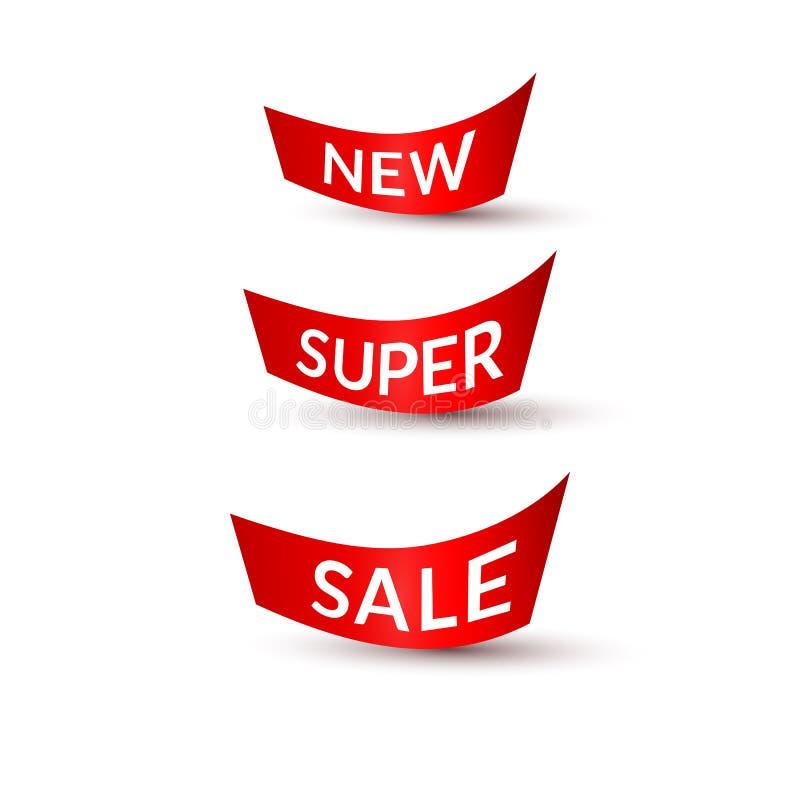 Czerwoni faborki z tekst nową super sprzedażą na białym tle Odizolowywali element projekt reklamowy sztandarów plakatów promocji  royalty ilustracja