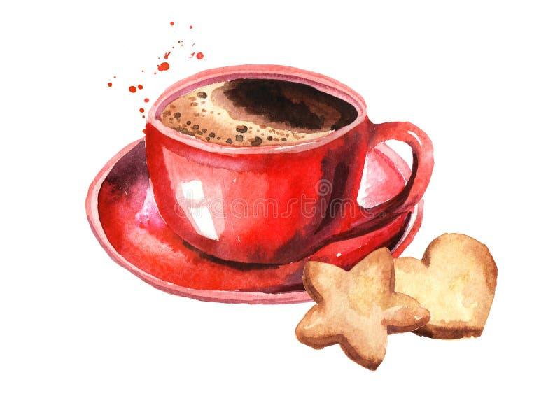 Czerwoni filiżanki kawy i bożych narodzeń ciastka Akwareli ręka rysująca ilustracja odizolowywająca na białym tle ilustracji