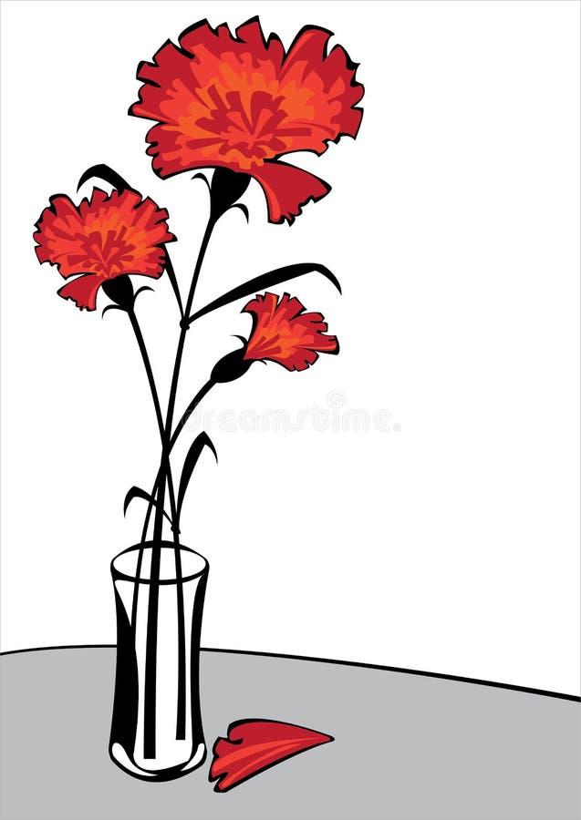 Czerwoni goździki w wazie odizolowywającej na białym tle royalty ilustracja