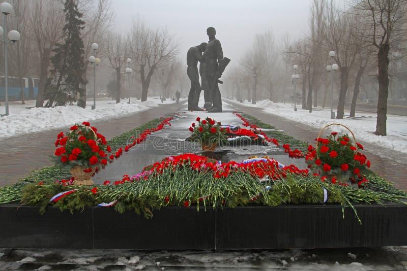 Czerwoni goździki wyznaczający zabytek komsomołów członkowie w Volgograd obraz royalty free
