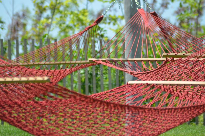 Czerwoni hamaki zdjęcie royalty free