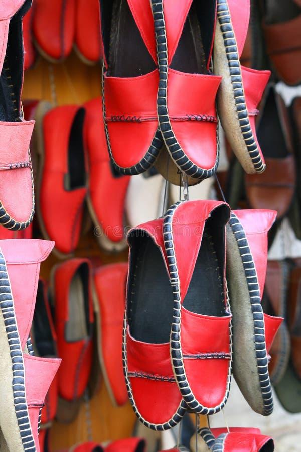 Czerwoni handmade buty zdjęcie stock