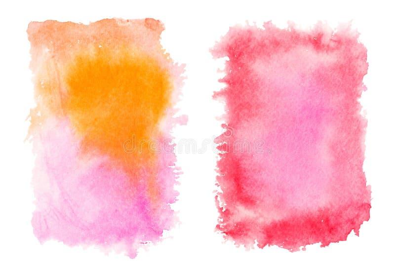 Czerwoni i żółci akwareli pluśnięcia odizolowywający na białym tle royalty ilustracja