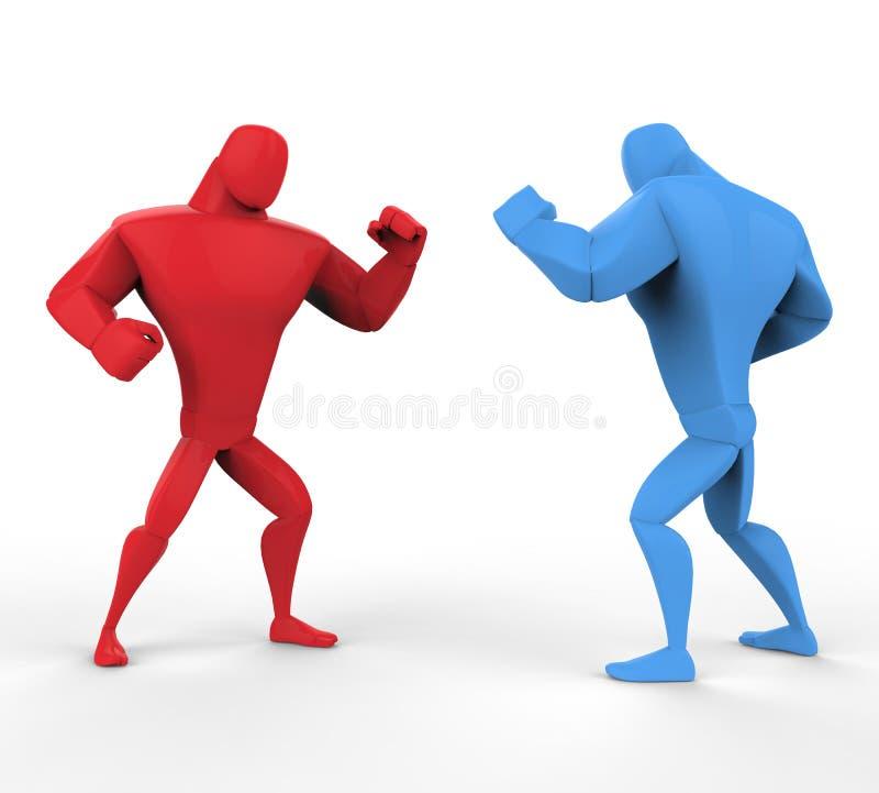 Czerwoni i błękitni boksery w walczącej postawie ilustracji