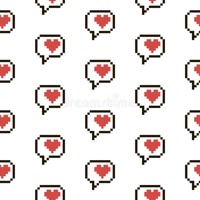 Czerwoni i biali Pixelated serca royalty ilustracja