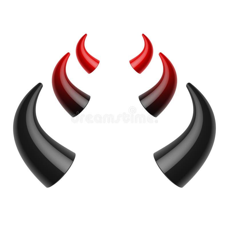 Czerwoni i czarni czarci rogi ilustracji