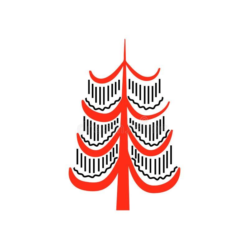 Czerwoni i czarni fantastyczni czarodziejscy drzewa Krajowi północni obrazy Ludowi rękodzieła czarowny royalty ilustracja