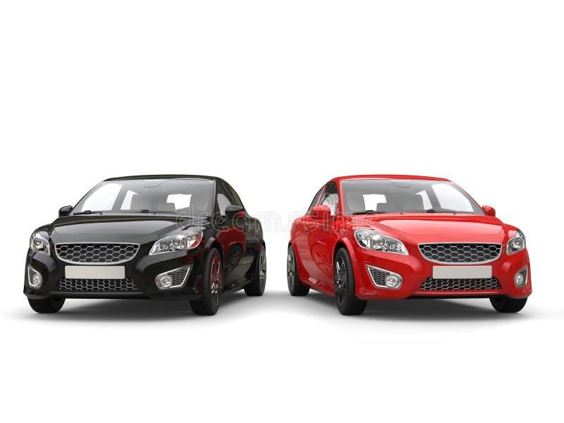 Czerwoni i czarni nowożytni eleganccy rodzinni samochody - frontowy widok royalty ilustracja