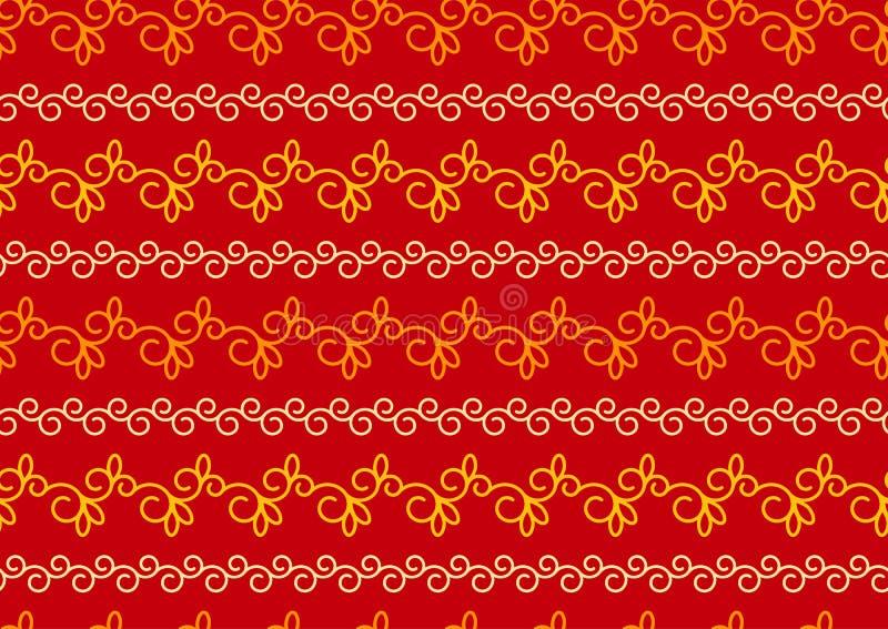 Czerwoni i złociści boże narodzenia indianin, wektorowy bezszwowy wzór lub tło, Bezszwowy rocznika wzór z zawijasami ilustracji