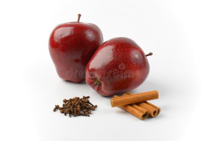 Czerwoni jabłka, cynamonowi kije i wysuszeni cloves, zdjęcie royalty free