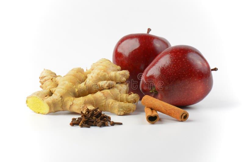 Czerwoni jabłka, imbiru korzeń, cynamonowi kije i wysuszeni cloves, obrazy stock