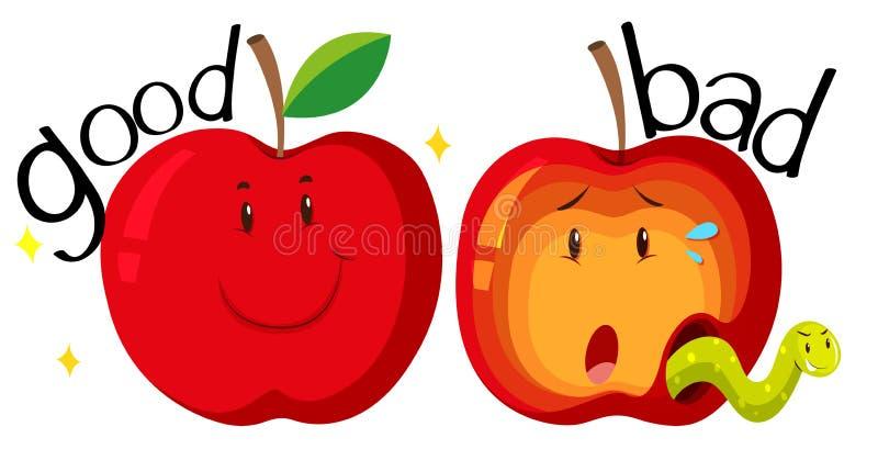 Czerwoni jabłka w dobrym i złym stanie ilustracja wektor