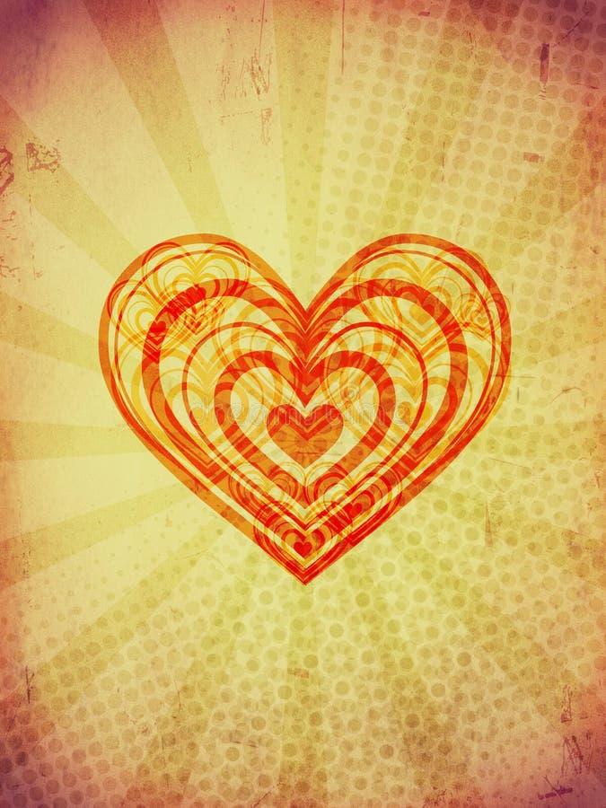 Czerwoni koncentryczni serca z promieniami na starym papierze obrazy royalty free