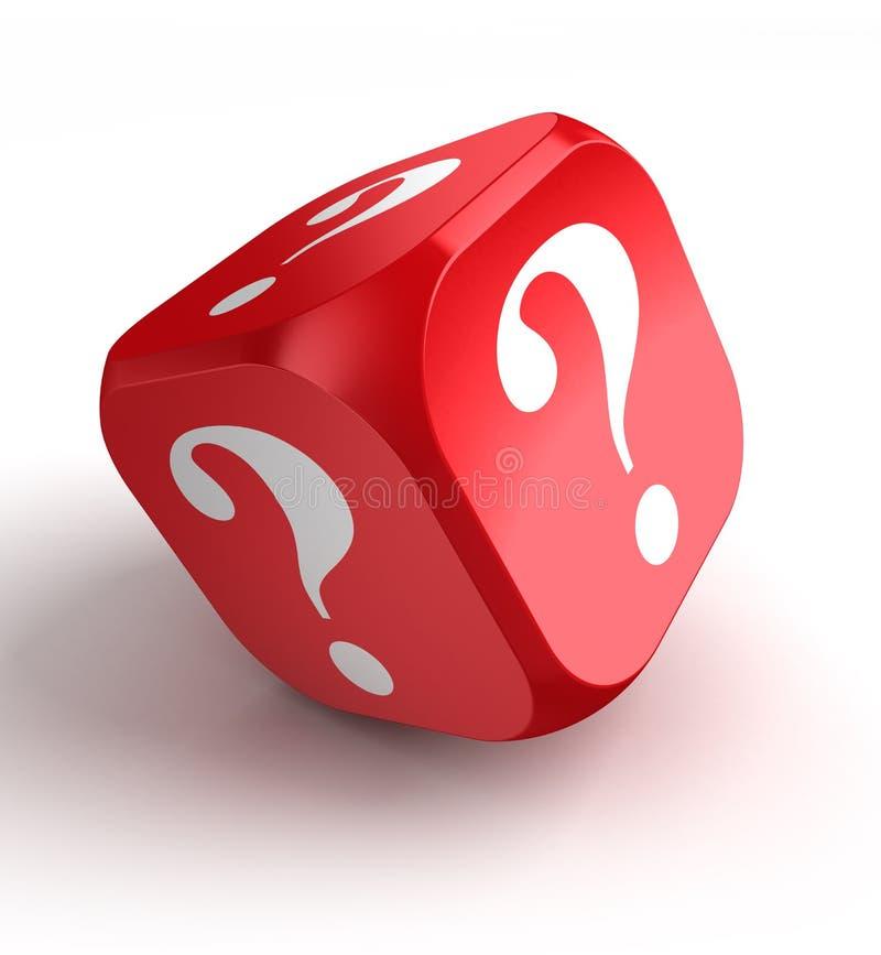 Czerwoni kostka do gry z znakiem zapytania royalty ilustracja