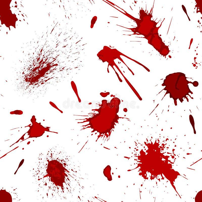 Czerwoni krwi lub farby splatters bryzgają punktu tła wektoru bezszwową deseniową ilustrację ilustracji