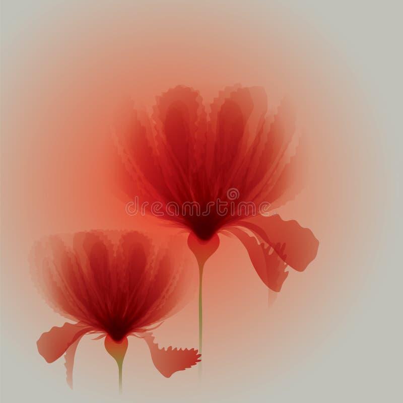 Czerwoni kwiaty royalty ilustracja