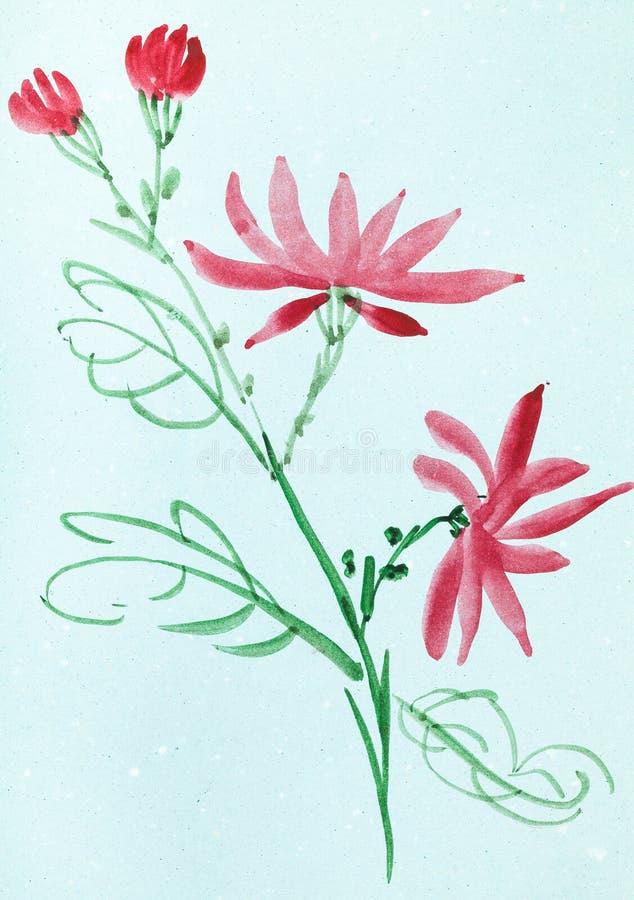 Czerwoni kwiaty na błękit barwiącym papierze ilustracji