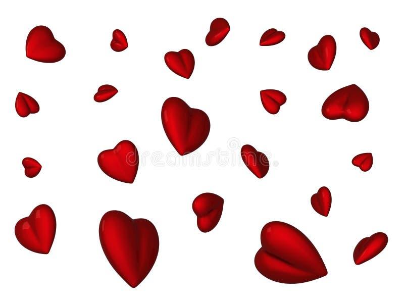 czerwoni latający serca ilustracji