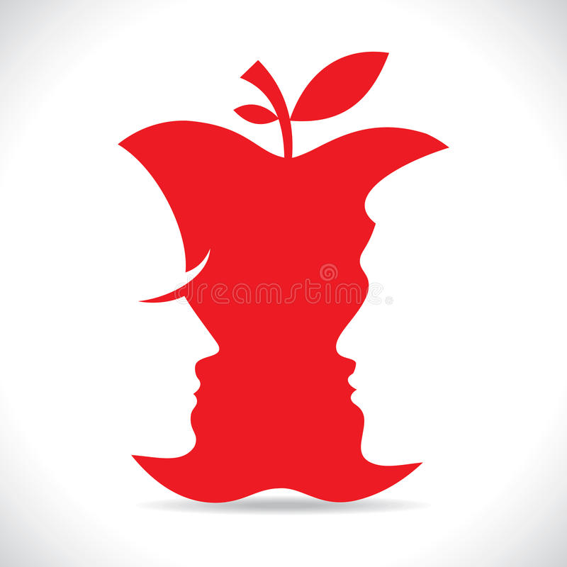 Czerwoni mężczyzna i kobiety stawiają czoło wycinankę w jabłku royalty ilustracja