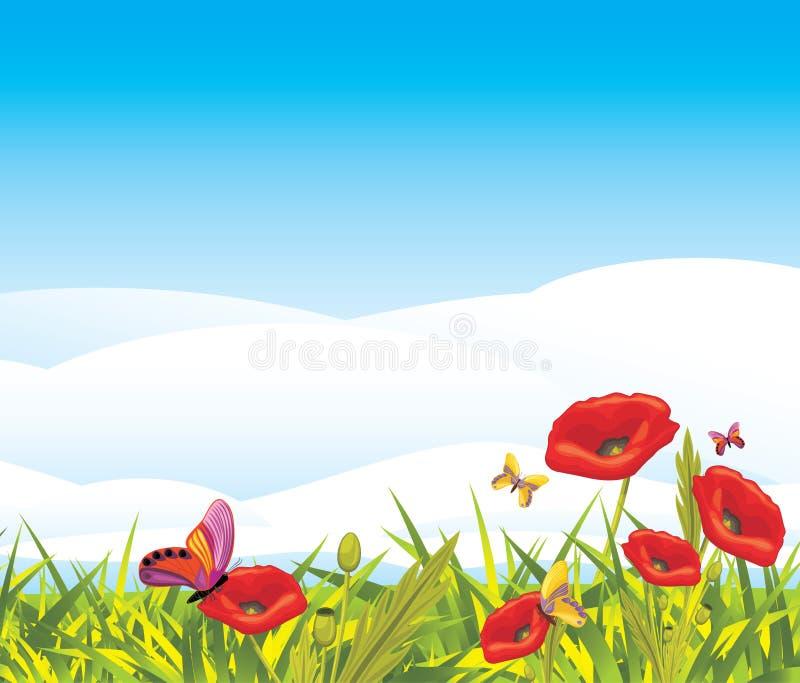 Czerwoni maczki i motyle ilustracja wektor