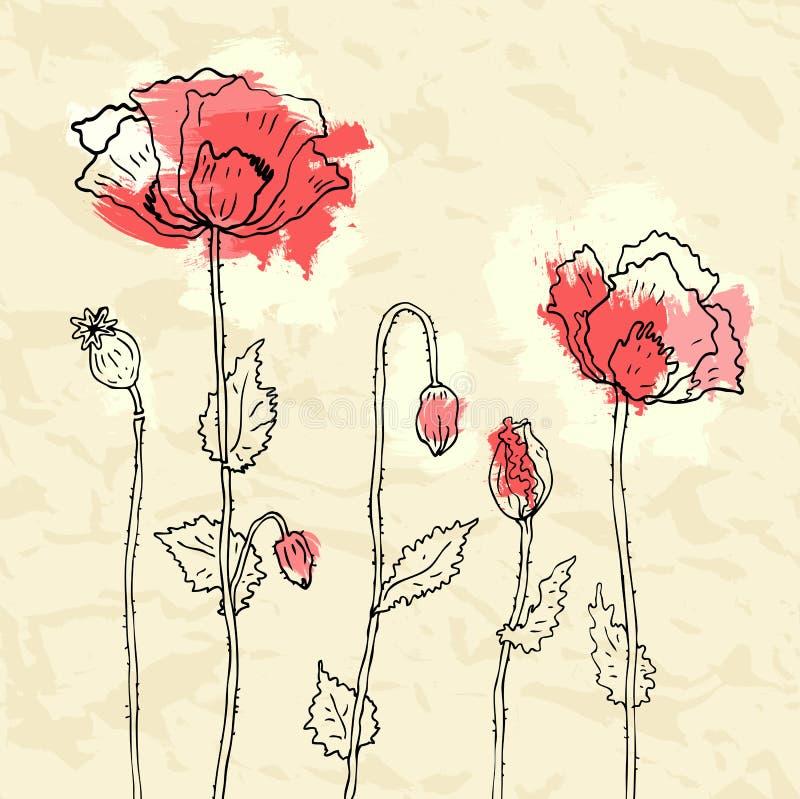 Download Czerwoni Maczki Na Zmiętym Papierowym Tle Ilustracji - Ilustracja złożonej z elegancja, bukiet: 28966882