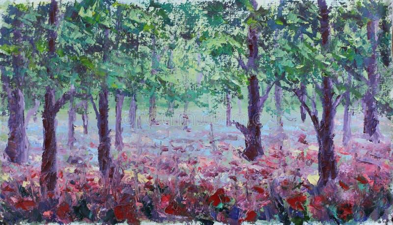 Czerwoni maczki w lato lesie, obraz olejny ilustracja wektor