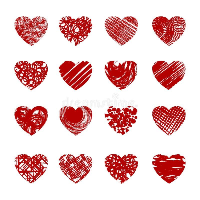 Czerwoni nakreśleń serca ilustracji