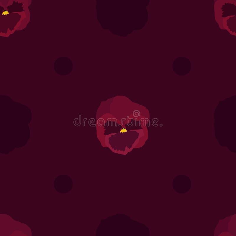 Czerwoni pansy kwiaty ilustracji