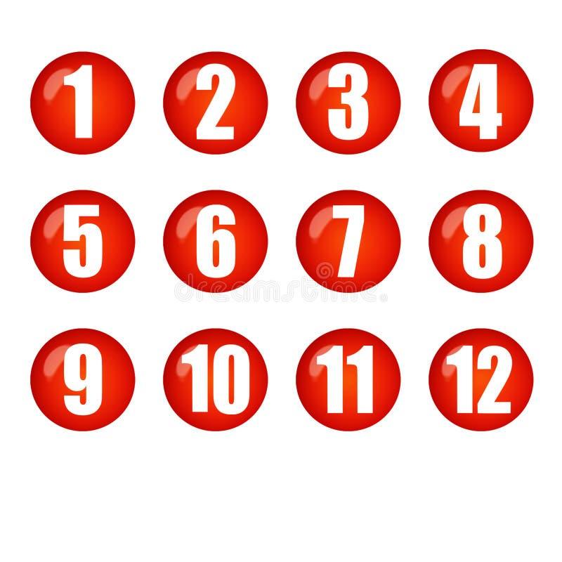 Czerwoni piłek liczb guziki ilustracja wektor