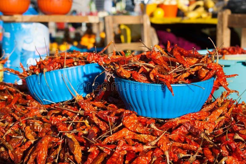 Czerwoni pieprze przy San Juan Chamula rynkiem, Chiapas, Meksyk obraz stock