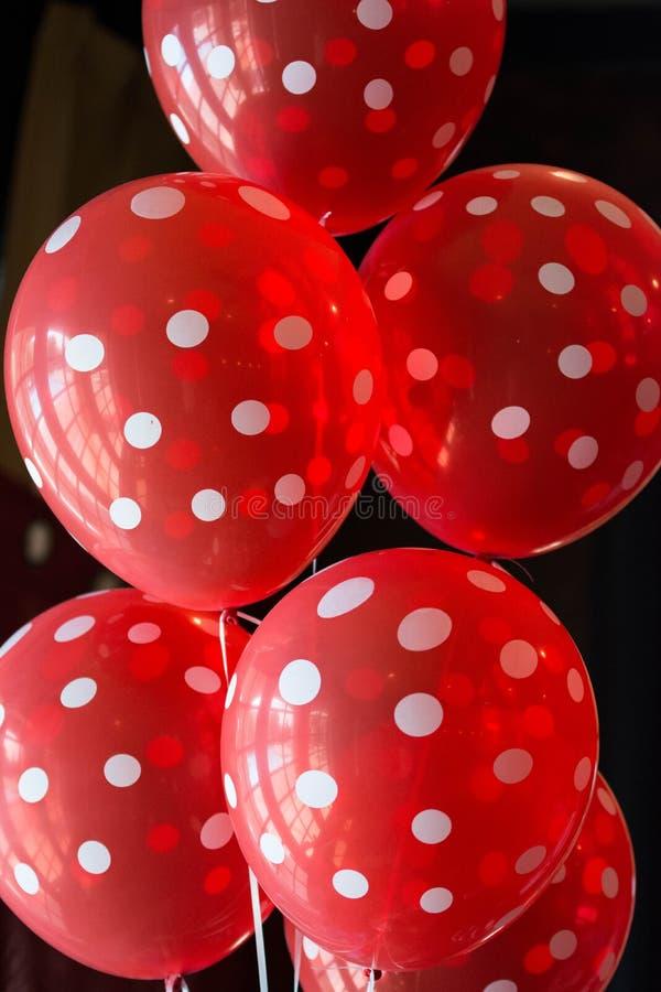 Czerwoni polki kropki balony fotografia royalty free