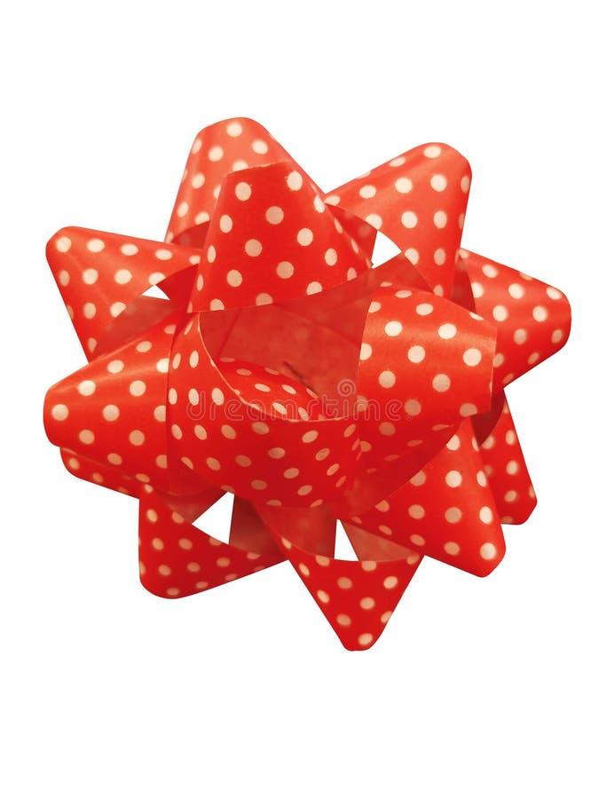 Czerwoni prezenta faborku łęki odizolowywający nad białym tłem dziób tła gwiazdkę czerwony odosobnione white obrazy stock