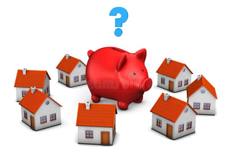 Czerwoni prosiątko banka znaka zapytania domy royalty ilustracja