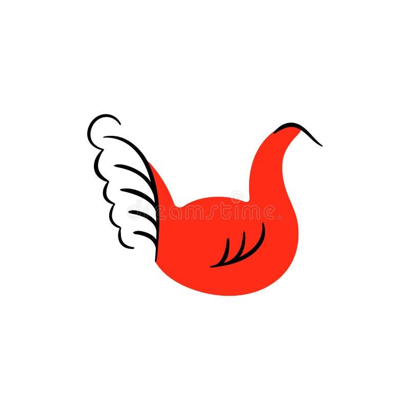 Czerwoni ptaki Krajowi północni obrazy Ludowi rękodzieła Czarowni oryginałów ornamenty prostota Czerwona płaska kaczka, gąska ilustracji