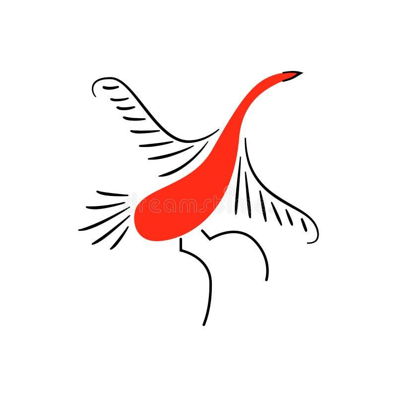 Czerwoni ptaki Krajowi północni obrazy Ludowi rękodzieła Czarowni oryginałów ornamenty prostota Czerwona płaska kaczka, gąska ilustracja wektor