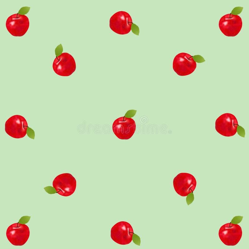 Czerwoni realistyczni jabłka na zielonym rocznika tle ilustracji