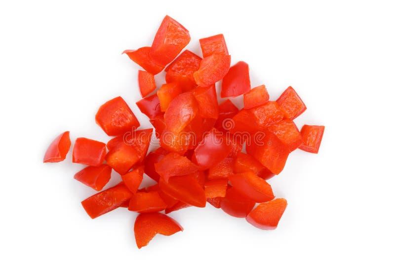 Czerwoni słodcy dzwonkowego pieprzu plasterki odizolowywający na białym tle Odgórny widok Mieszkanie nieatutowy zdjęcia stock