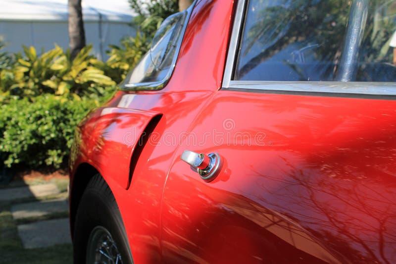 Czerwoni 1950s Ferrari 250 mm drzwiowy szczegół 03 obraz stock