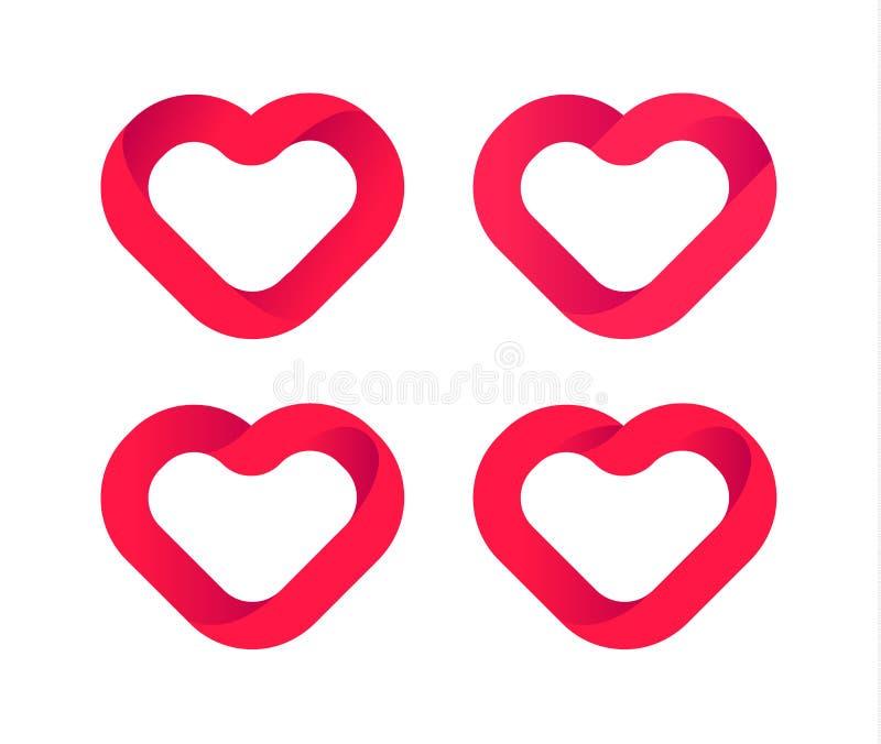 Czerwoni serca, miłość wektorowe ikony ustawiać Ślubny loga szablon, kierowy projekta element Walentynki symbol Abstrakcjonistycz royalty ilustracja