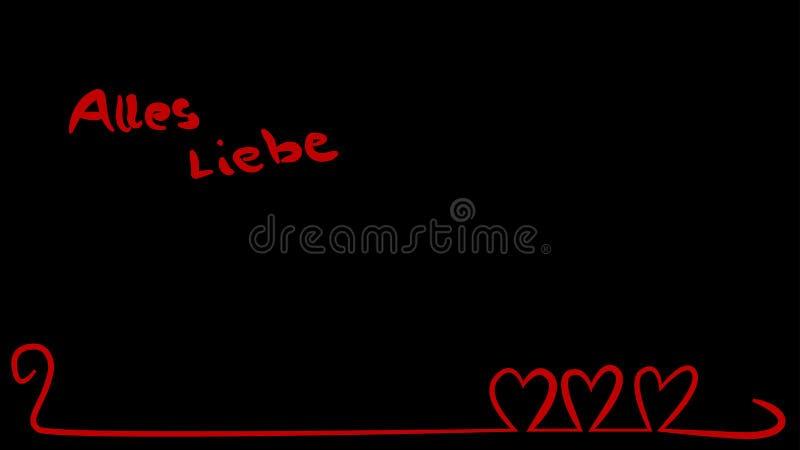 Czerwoni serca na wyginającej się linii z niemieckim tekstem royalty ilustracja