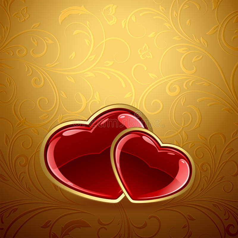 Czerwoni serca na złotym tle ilustracja wektor