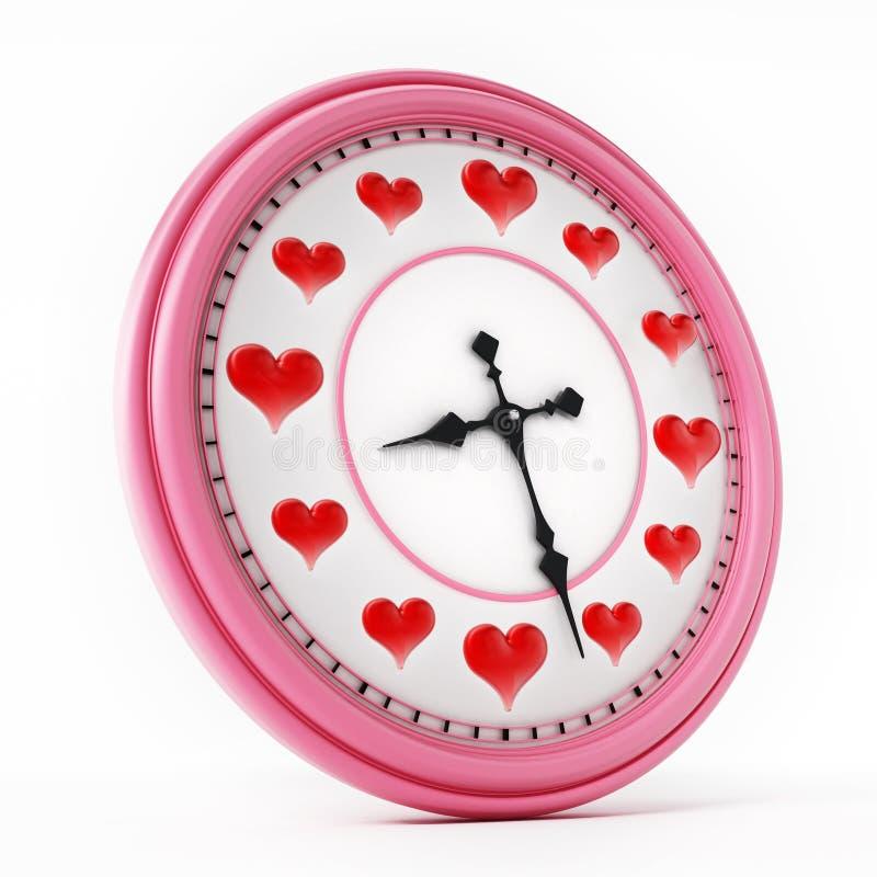 Czerwoni serca na zegarze zamiast liczb ilustracja 3 d ilustracja wektor