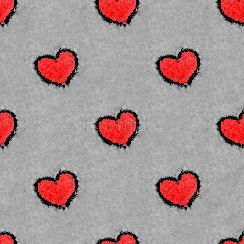 Czerwoni serca rysujący na śniegu chequerwise bezszwowym wzorze zdjęcia royalty free