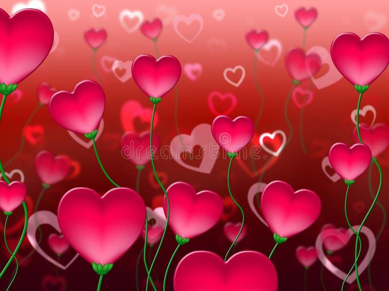 Czerwoni serca tła przedstawienia W miłości I abstrakcie ilustracji